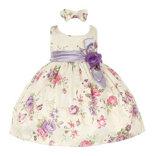 Baby Girls Lilac Floral Printed Jacquard Sash Hair Bow Dress 6-24M, Light Purple, 3-6 Months