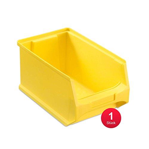 aidB Sichtlagerbox, stabile Stapelbox aus Kunststoff, Lagerbox, ideal für Kleinteile (3.0-235x145x125, Gelb)