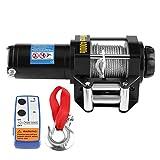 Cabestrante eléctrico, 12 V, 400 libras, kit de cabrestante de recuperación eléctrica ATV control remoto inalámbrico, 12 V, 4 WD ATV UTV, remolque, camión con cable de alta resistencia de 15 metros