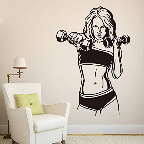 Wuyyii 67x99cm Huisdecoratie Grote Maat Dumbbell Vrouwelijke Fitness Muurstickers voor Kinderkamers Decoratieve Wanddecoratie Verwijderbaar