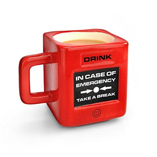 Mustard - Take A Break Emergency Cup I bijzondere koffiemok I grappige bureaumok I 100% keramiek I theebeker I mok I geïsoleerde beker I grappig cadeau-idee I noodknop voor de pauze - rood