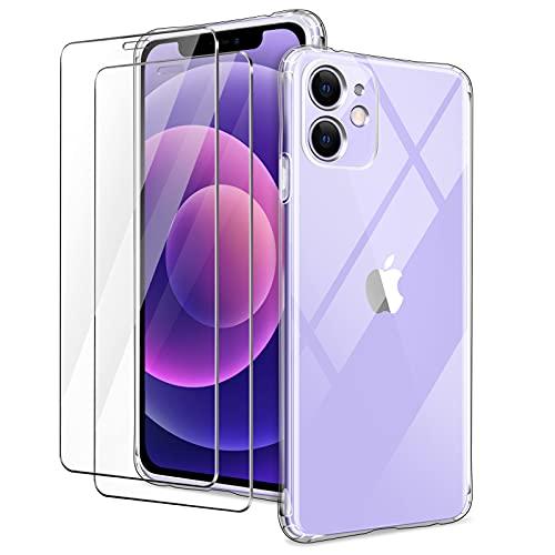 YIRSUR Funda Compatible con iPhone 12 con 2 Pack Cristal Templado Protector de Pantalla, Carcasa Transparente TPU Silicona Airbag con Protector de Lente de Cámara Incorporado