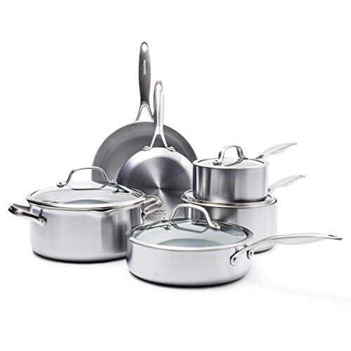 GreenPan Venice Pro Stainless Steel Healthy Ceramic Nonstick Light Gray Cookware Pots and Pans Set, 10-Piece
