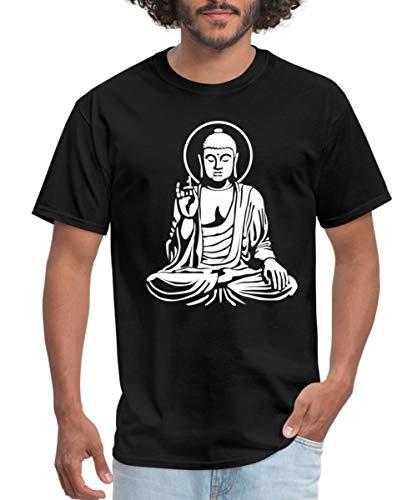 Buddha Statue Buddhism Men's T-Shirt, 5XL, Black