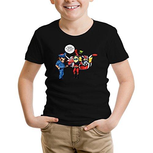 Okiwoki T-Shirt Enfant Noir Goldorak parodique Actarus : Papiers du véhicule s'il Vous plaît ! (Parodie Goldorak)