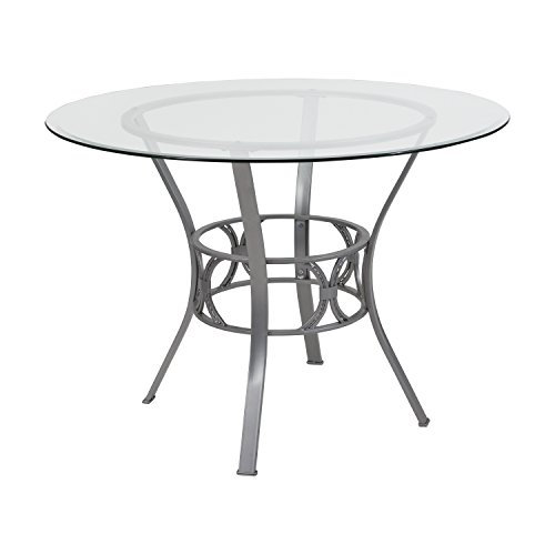 Flash Furniture Carlisle 42'' Round Glass Dining Table with Silver Metal Frame