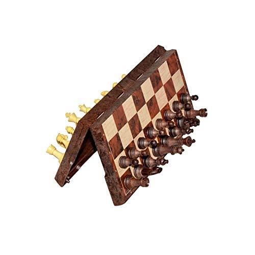 CHUTD Ajedrez Internacional, Juego de ajedrez magnético Exquisito y Duradero, los niños de Primaria también Pueden Usar ajedrez Plegable de imitación de Madera (marrón + Beige, 32 * 32 * 3 cm) (ta