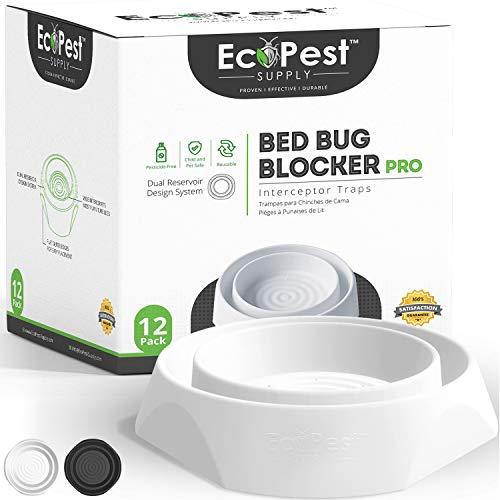 Intercepteurs de Punaises de Lit – Lot de 12 | Bed Bug Blocker (Pro) Pièges Intercepteurs (Blancs) | Piège à Insectes, Dispositif de Contrôle, et Détecteur Pour Pieds de Lit
