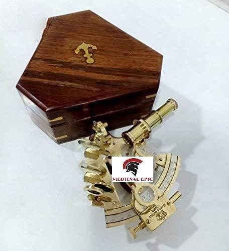 MEDIEVAL EPIC Sextant aus massivem Messing, Kelvin, Hughes, London, nautisches Geschenk, Astrolabe.