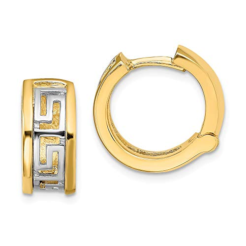14k Two Tone Yellow Gold Cut Out Greek Key Hinged Hoop Earrings Ear Hoops Set Round Fine Jewellery For Women Gifts For Her