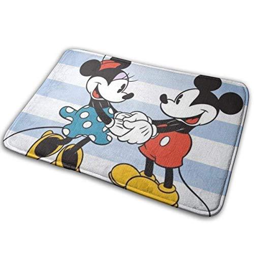 Felpudo Alfombra Suave Alfombra de Entrada Elegante diseño de Mickey Mouse y Minnie Mouse para Patio, Puerta Principal, baño, balcón, 23,6 x 15,7 Pulgadas