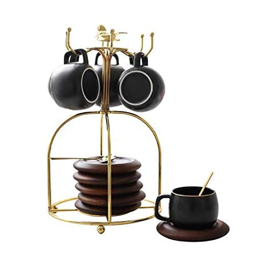 Tasse Anzug Becher Kaffeehaus Hotel Kaffeetasse Ins Wind elegant Goldrand Kaffeetasse und Untertasse Set Keramik Haushalt Nachmittagstee-Set Gerät Getränkehalter Blau 6-teiliges schwarzes Regal