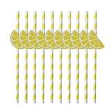 OUNONA Trinkhalme aus Papier gestreift wei? gelb Zitrone Deko für Cocktail Party Hawaii 10?Stück