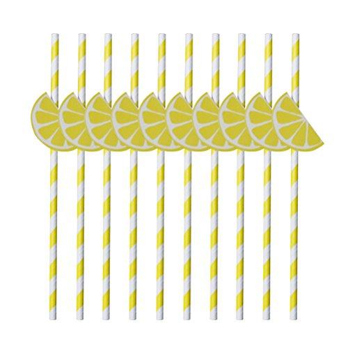 OUNONA Trinkhalme aus Papier gestreift wei? gelb Zitrone Deko f¨¹r Cocktail Party Hawaii...