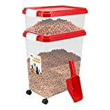 Prime Paws® 3-Piece Airtight Pet Food Storage Container with Measuring Scoop Plastic Pet Dog Cat Animal Dry Food Dispenser (Grey)