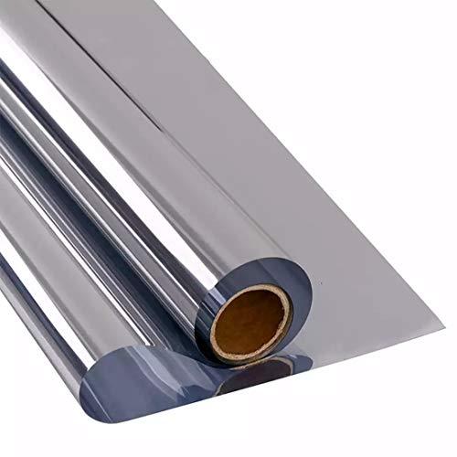 Vinilo Ventana Plata Protector, Película Adhesiva Unidireccional Reflectante para Ventana, Control de Calor Anti UV Bloqueador Solar, Protección de Privacidad, 70x400