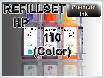 Tinte Refill Set Nachfülltinte Refillset Druckertinte HP110 HP 110 PHOTOSMART A311 A314 A316 A320 A321 A430 A432 A433 A434 A436 A440 A441 A444 A516 A526 A532 A612 A617 A618 A626 A636 A717 A826