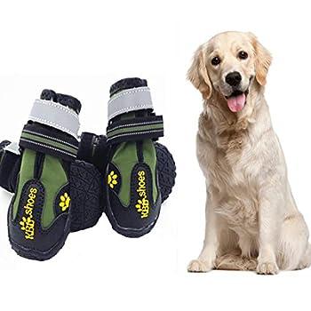 VICTORIE Bottes Chien Chaussure Respirantes Chausson Antidérapant Étanche Randonnée Voyage Montagne 4PCS Vert L