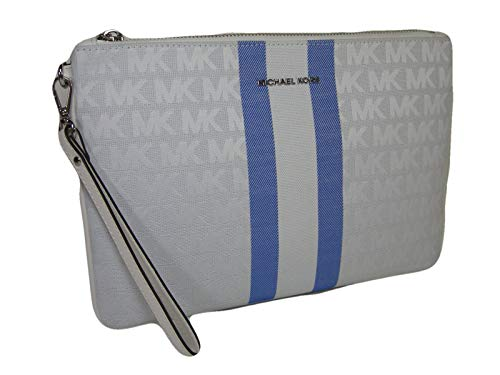 Blue Multi exterior with the Michael Kors in sliver. Measures approximately 11 inches by approximately 7 inches. Interior 6 credit card slots and a larger slip pocket. Full description below.