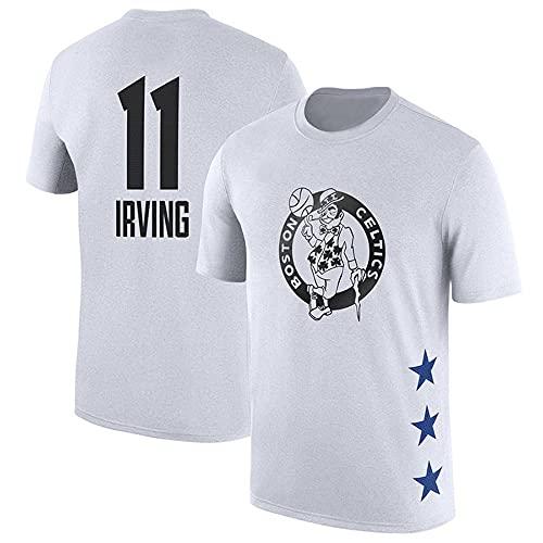 YZQ Camisetas para Hombre, Boston Celtics # 11 Kyrie Irving NBA Basketball Jerseys Casual Deportes Camisetas Sueltas Chaleco Tops,Blanco,XXL(180~190CM)