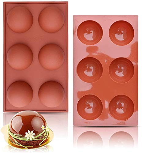 Chocolate Molds, 6 Holes Silicone Mold for Chocolate, Cake, Jelly, Pudding, Handmade Soap, Half Sphere Dome Mousse, BPA Free, Non Stick Cupcake Baking