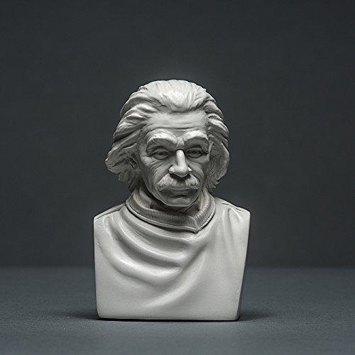 Albert Einstein Skulptur aus hochwertigem Zellan, echte Handarbeit Made in Germany, Büste in weiß, 10cm