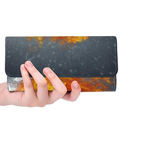 Einzigartige benutzerdefinierte brennende Puck Scherben EIS auf abstrakte Frauen Trifold Wallet Lange Geldbörse Kreditkarteninhaber Fall Handtasche