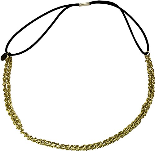 Mia Fashion Headband, Hair Accessory OR Necklace, Twisted Metal Chain + Elastic Rubber Band, Yellow Gold, for Women, Teens, Girls