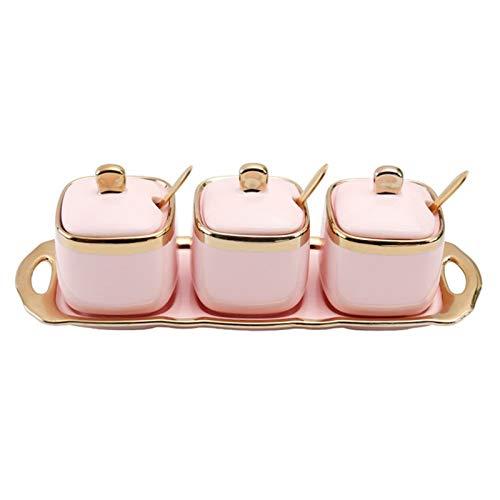 Fashion New! - Recipiente de cerámica de cocina, para condimentos, salero, taza de café, azucarero, juego de vajilla de 3 piezas con cuchara dorada (rosa)