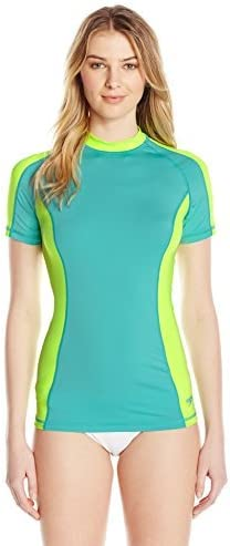 Speedo Girls Uv Swim Shirt Short Sleeve Color Block Rashguard Manufacturer Discontinued
