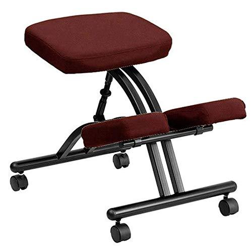 DGHJK Ergonomischer Kniestuhl Home Office Höhenverstellbarer Kniehocker für eine gesunde Rücken- und aufrechte Haltung mit dicken, bequemen Schwammkissen und Bremsrollen, rot