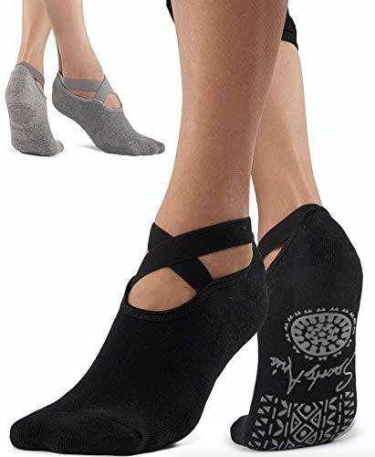 SportyAnis® Premium Yoga-Socken Damen rutschfest für Yoga, Pilates, Tanz und Ballet (2er Pack: Grau & Schwarz)