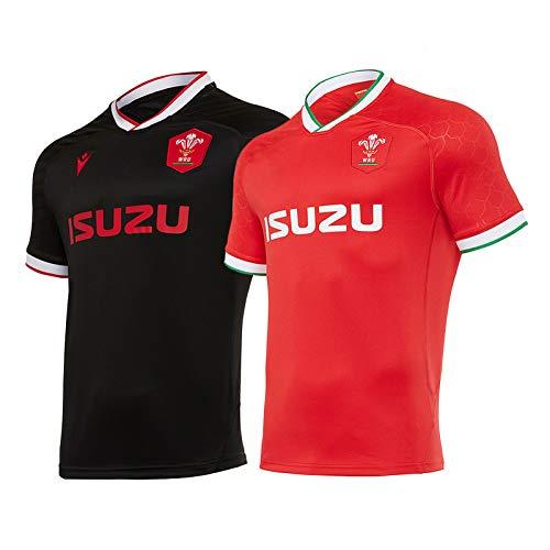 Mǎcrǒň WRǚ Wales Herrenhemd Rugby Jersey Schottland T-Shirt 2020/21 Wales Heim- / Auswärts-Replik-Shirt red-M