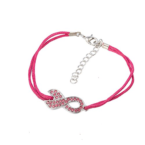 Fishhook Crystal Pink Ribbon - Pulsera para mujer con cordón de cera inspirador para el cáncer de mama