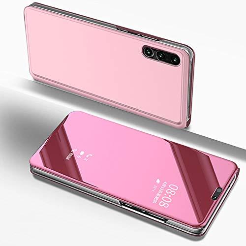 Custodia Huawei P20 Lite Specchio Portafoglio Libro Trasparente Cover Flip Pelle Verticale Pieghevole Rigida Electroplate Antiscivolo AntiGraffio Guscio con Supporto per Huawei P20 Lite-Oro Rosa