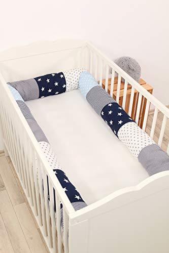 Baby Nestschlange | Made in EU | ÖkoTex 100 | Schadstoffgeprüft | Antiallergisch | Baby Bettumrandung | Bettschlange | Blau Hellblau Grau | 300 x 13 cm | ULLENBOOM ®