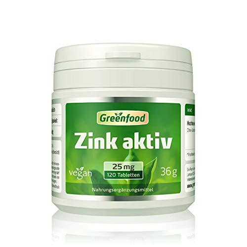 Zink aktiv, 25 mg, hochdosiert, 120 Tabletten, vegan – hohe Bioverfügbarkeit. Stärkt die Abwehrkräfte und hilft beim Abnehmen. OHNE künstliche Zusätze. Ohne Gentechnik.