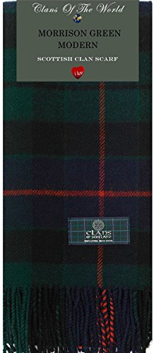 I Luv Ltd Morrison Green Modern Tartan Clan Scarf 100% Soft Lambswool