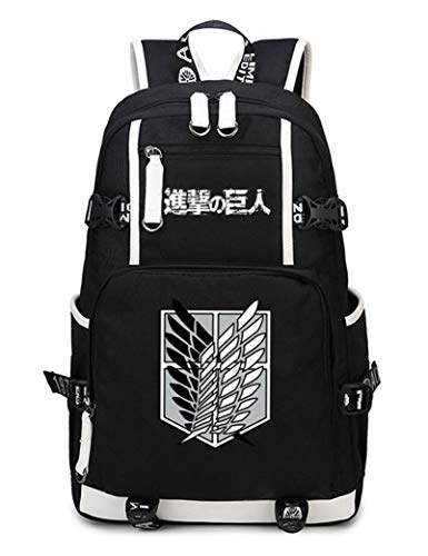 WANHONGYUE L'Attaque des Titans Attack on Titan Anime Knapsack Sac à Dos Cartable Laptop Backpack pour Étudiant Noir-5