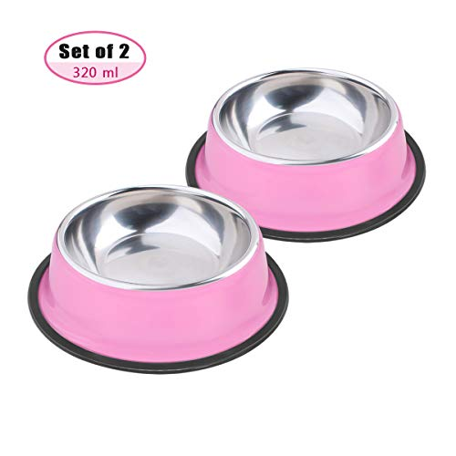 Soleebee Rosa Hundenapf aus Edelstahl Melamin-Napf für kleine Katzen Hunde Rutschfeste Hundenapf 2er Set (320ML)