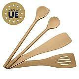 ⭐ MIAMM ustensiles de cuisine en bois set, ensemble complet, spatules en hêtre, Made in EU, 1 grande cuillère à sauce de 30cm, 1 spatule mortaise 30cm, 1 spatule biseautée 30cm, 1 maryse a pâtisserie