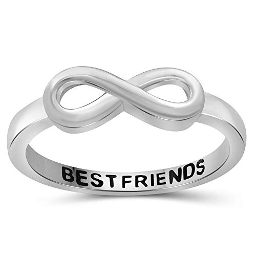 JEWELEXCESS Sterling Silver Infinity Friendship Ring for Women | Personalized Sisters, Best Friends, Engagement, Wedding, Promise Eternity Knot Symbol Band