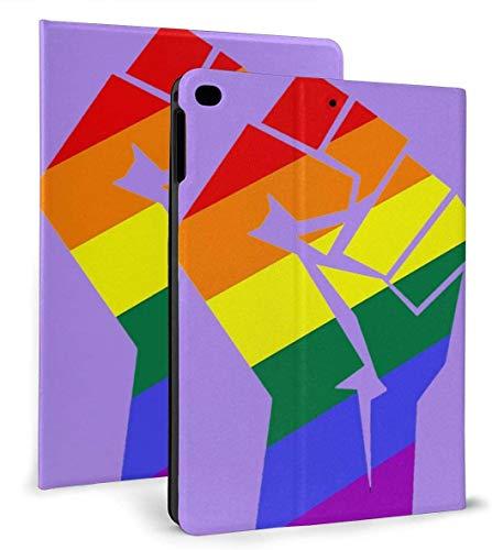 LGBT Pride Rainbow Flag Fist PU Funda Inteligente de Cuero Función Auto Sleep / Wake para iPad Mini 4/5 7,9 'y iPad Air 1/2 9,7' Funda