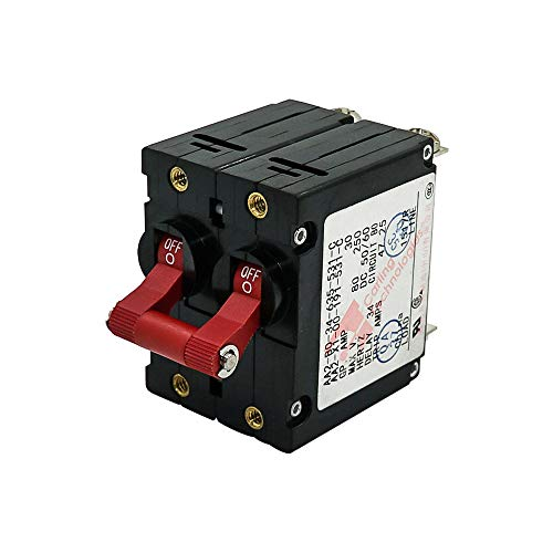 Double Pole AC/DC Red Toggle Circuit Breaker Magnetic 30Amp for Boat RV