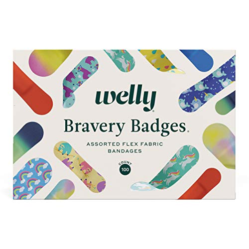 Welly Bravery Badge Box | Adhesive Flexible Fabric Bandages | Assorted Shapes and Patterns for Minor Cuts, Scrapes, and Wounds - 100 Count