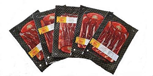 Jamón Ibérico Curado y Cortado en Lonchas al Vacío (Pack 5x100g) | Jamón de Pata Negra Deshuesado y Loncheado | Cerdos Criados en la Dehesa de Extremadura al Aire Libre con Bellotas | Calidad Suprema