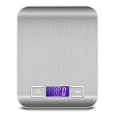 KUNSTWORKER Kitchen Digital Scale, Food & Medical Scale, 11 lb 5 kg,Multifunction Food Scale with LCD Display, Stainless Steel,Silver, 2 Batteries (Included) (silver)
