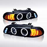 Autozensation For BMW E39 5-Series [Glossy Black] Projector Headlights+Amber LED Signal Pair