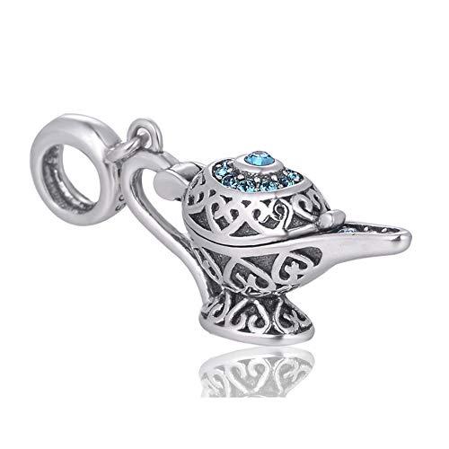 EVESCITY lámpara de genio edición limitada de plata de ley 925 para pulseras de abalorios como Pandora y otros ♥ el mejor regalo de joyería para los fans de Aladdin ♥