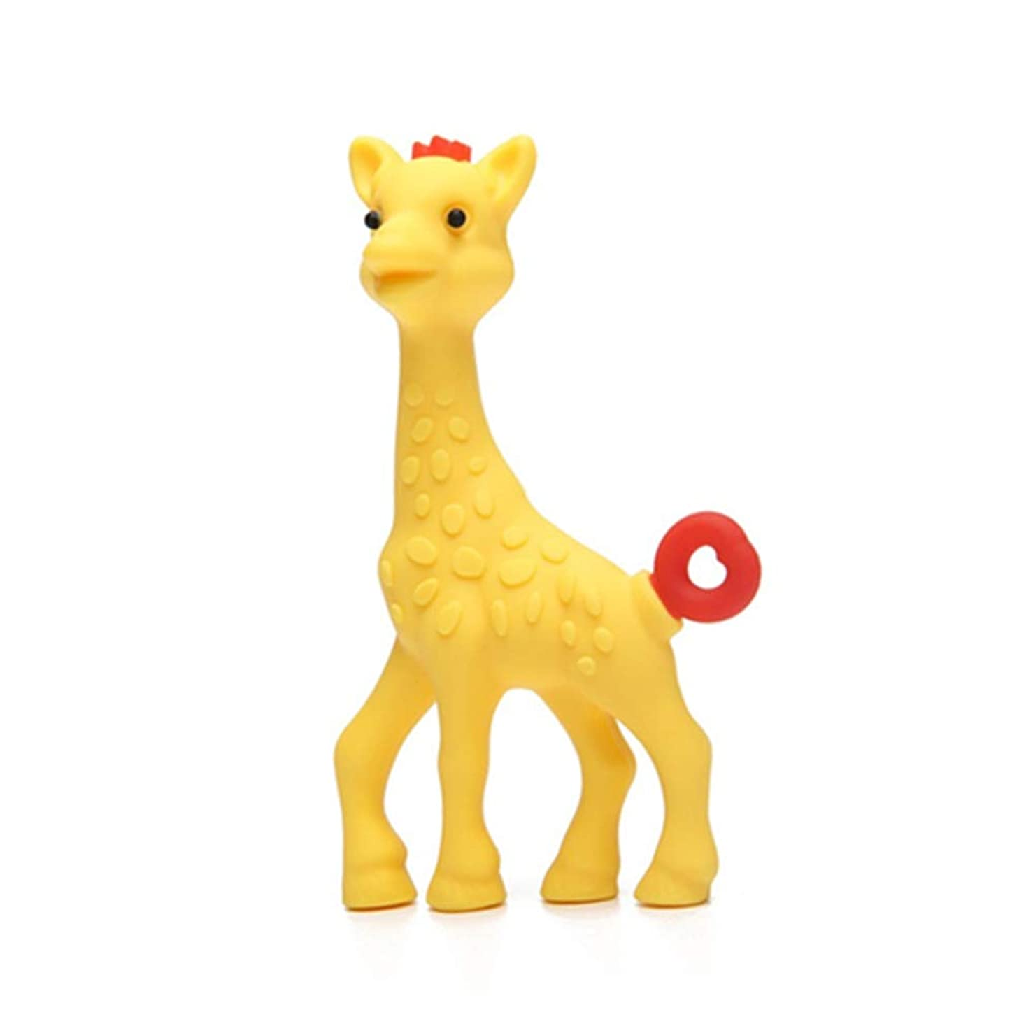 Giraffe Teether Baby Teething Toy for Infant Toddler, 100% Silicone BPA Free 12 Months (Yellow Sika Deer)